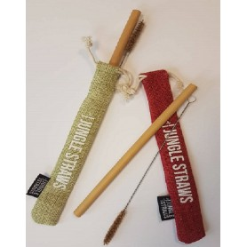 Bambukinis šiaudelis su šepetėliu ir džiuto maišeliu