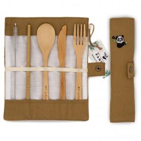 Kelioninis bambukinių stalo įrankių rinkinys