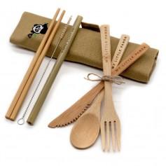 Kelioninis bambukinių stalo įrankių rinkinys (maxi)