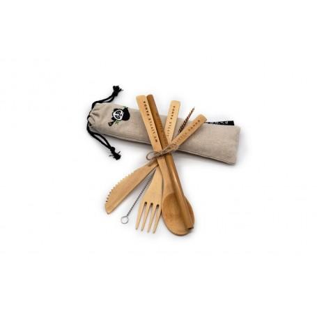 Kelioninis bambukinių stalo įrankių rinkinys (compact)